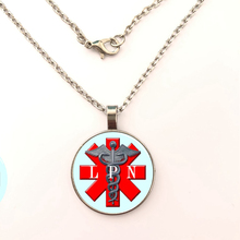 LPN - Licensed Practical Nurse Medical Glass Dome Necklace Personalized Photo Cabochon Long Chain Couple Women Men Jewelry