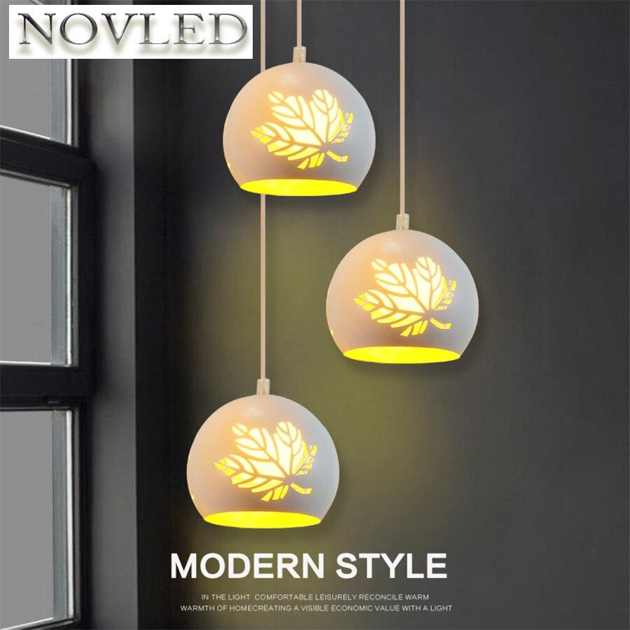 Creative Nordic Livingroom Lamparas De Techo Colgante Moderna Art Bedroom Restaurant Iron Pattern Hollow Warm Maple Leaf Lamp