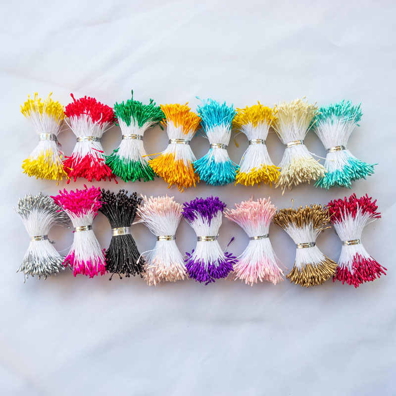 1mm 400pcs Flower Stamens For Craft Mini Artificial Flowers Stamen With Double Heads Fake Flower Buds Wedding Cake Decoration