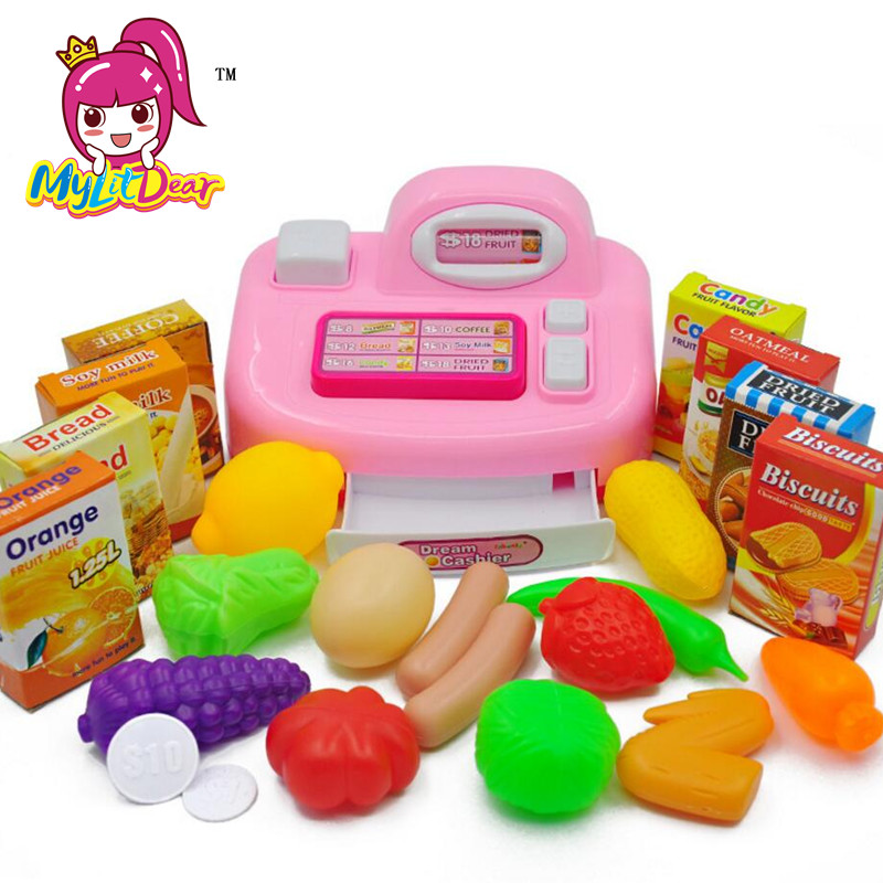 MylitDear 2017 New Kids Plastic Cash Register Cashier Pretend & Play Children Early Educational Toy With Shopping Basket Toys