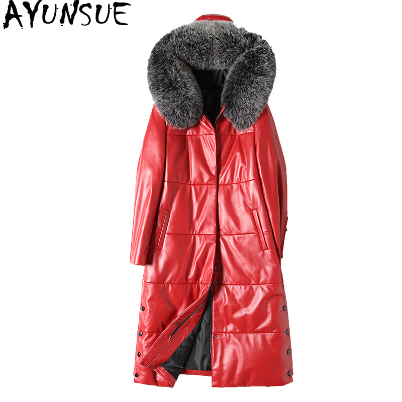 AYUNSUE Women Genuine Leather Jacket Winter Down Coat Natural Fox Fur Collar Hooded Real Sheepskin Coats Plus Size 28507 WYQ1527