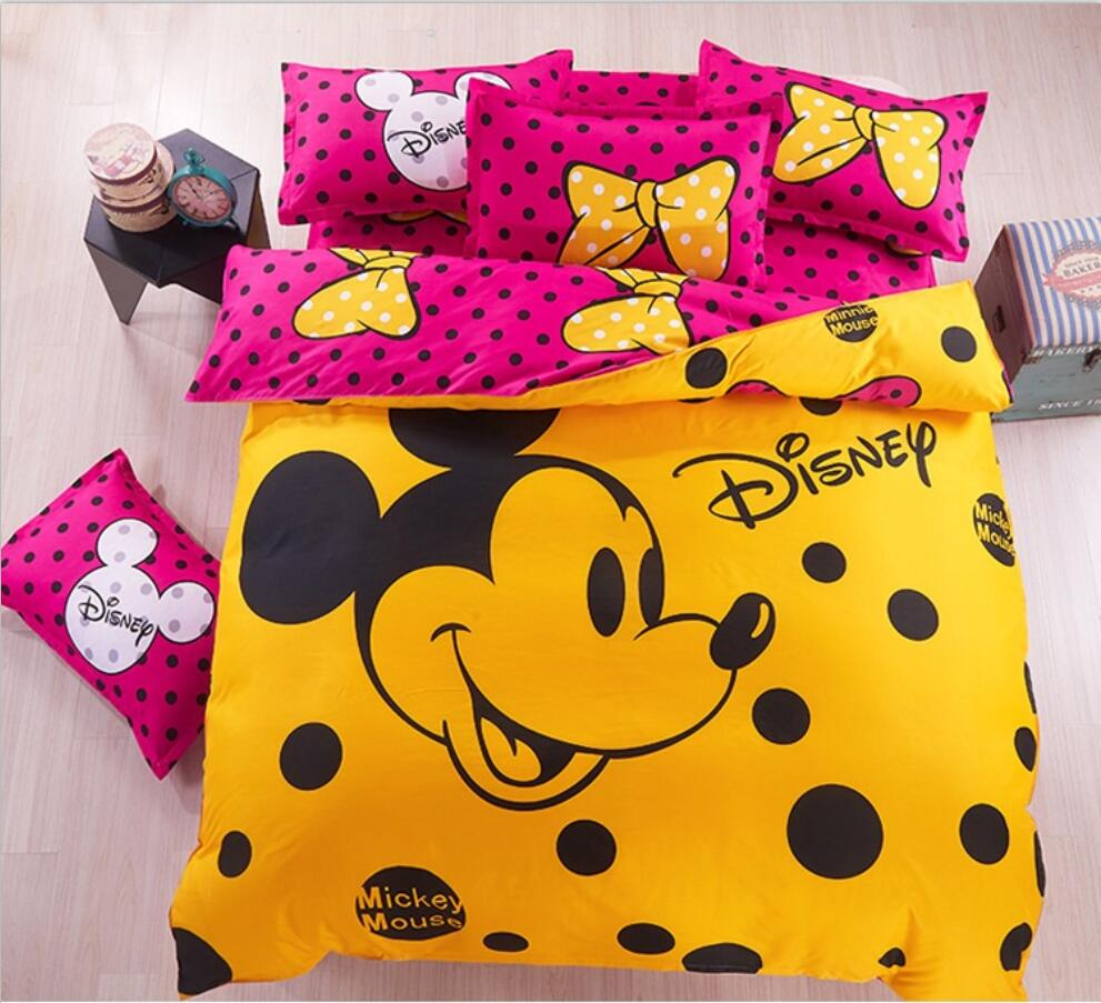 Mickey and Minni Mouse Hello Kitty Cartoon kids Beddings Duvet Cover Pillow Cases Bed Linen Set Home Textile 4 Pieces