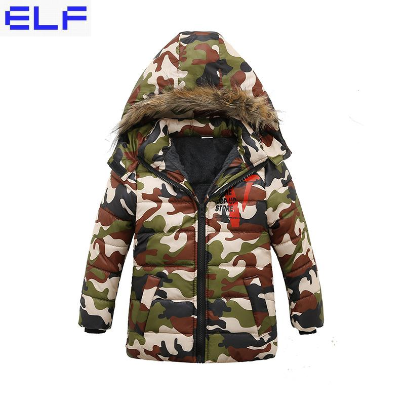 Scsech Winter Jacket Kids Boys 2018 New Thicken Warm Hooded Cotton Down Padded Coat Camouflage Camo Down Outerwear Coats цена