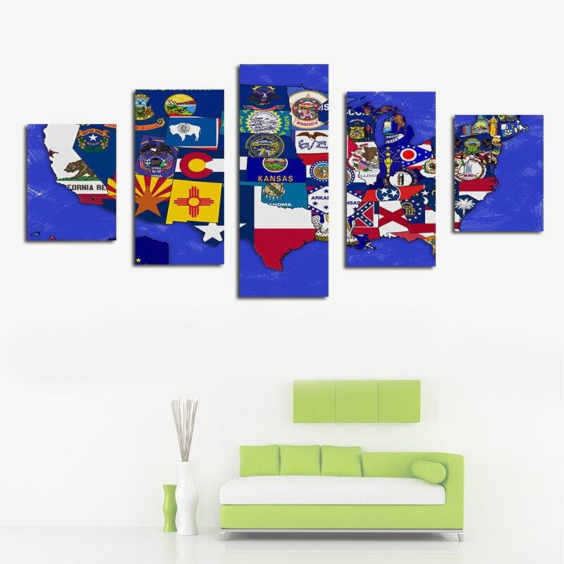 Drapeau usa carte grande taille affiche décor à la maison peinture à l'huile Canva peinture mur photos salon chambre étude café hôtel stade