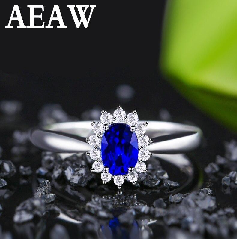 Genuíno 0.5ct aaa anel de safira natural 0.16ctw verdadeiro diamante 14kt ouro branco design simples para a menina aniversário jóias por atacado - 2