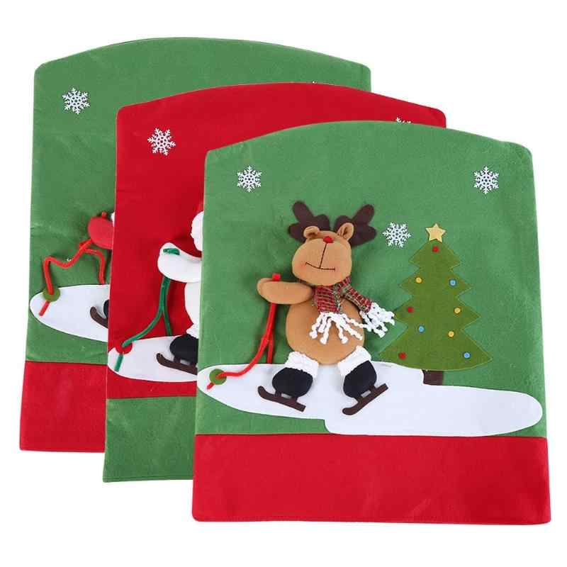 Рождественский чехол на стул Санта-Клаус Снеговик рождественские вечерние обеденный стол и стул задние крышки рождественские украшения для дома