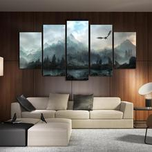 Wall Art Canvas Painting HD Printed Landscape Mountain Forest Clouds 5 Piece  Pictures for Living Room