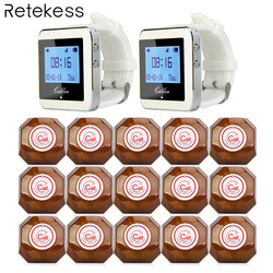 Restaurant Pager Wireless Calling System 2 Watch Pager Receiver+15 Call Button T133 Restaurant Equipment Customer Service F9426