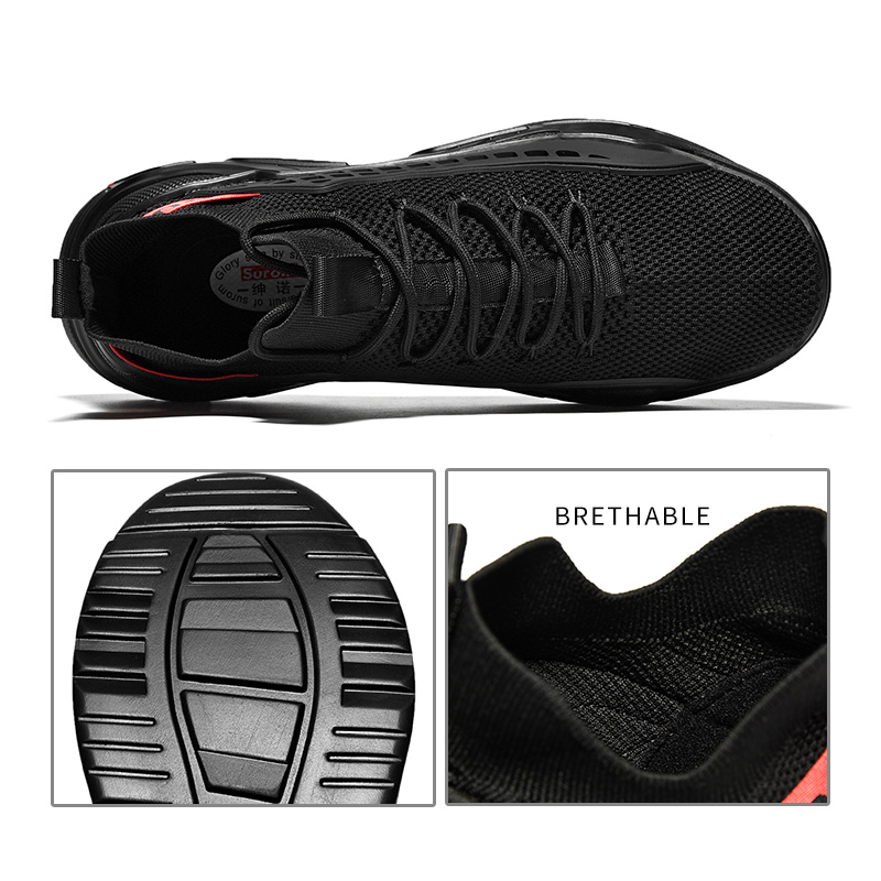 Black Sneakers Men Mesh Breathable Running Shoes 1