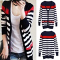 2017 spring and autumn new cardigan Knitted sweaters Long section of clothes Woman's coat Air-conditioned shirt Striped sweater