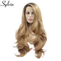 Sylvia Ombre Brown Blonde Natural Wavy Side Part Heat Resistant Fiber Synthetic Lace Front Wig For