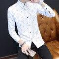 TG6358 Дешевые оптовая 2016 новый футболка с Длинным рукавом человек хан издание воспитать в себе тип нравственности белая линия мужчин рубашка