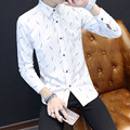 TG6358 Cheap wholesale 2016 new Long sleeve shirt man han edition cultivate one's morality type white line of men's shirt
