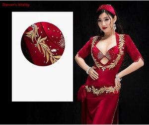 Image 2 - Women Performance Belly Dancing Show in Costume Bra+Underpants+robe+Headdress+belt 5PCS velvet Dance Cothing Belly dance Dress