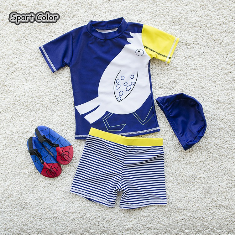 New Lovely Birds Kids Swimsuit Quality Boys Baby Swimwear Two-pieces Bath Suit Infant Blue Stripe Children Beachwear 2-10Years