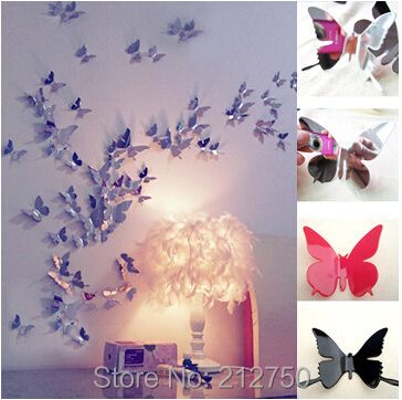 3Small size Multi-colors 3D Mirror wall stickers 2014 acrylic butterfly decals decor - C&C Wedding&Party Event Co.,LTD store