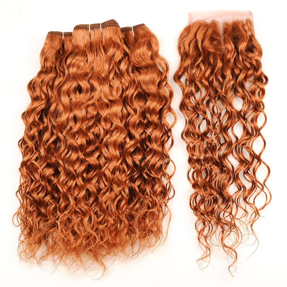 Pinshair Indian Hair Water Wave 3 Bundles With Closure Honey Blonde 30 NonRemy Human Hair And Lace Closure 10-26 Inch Thick Hair