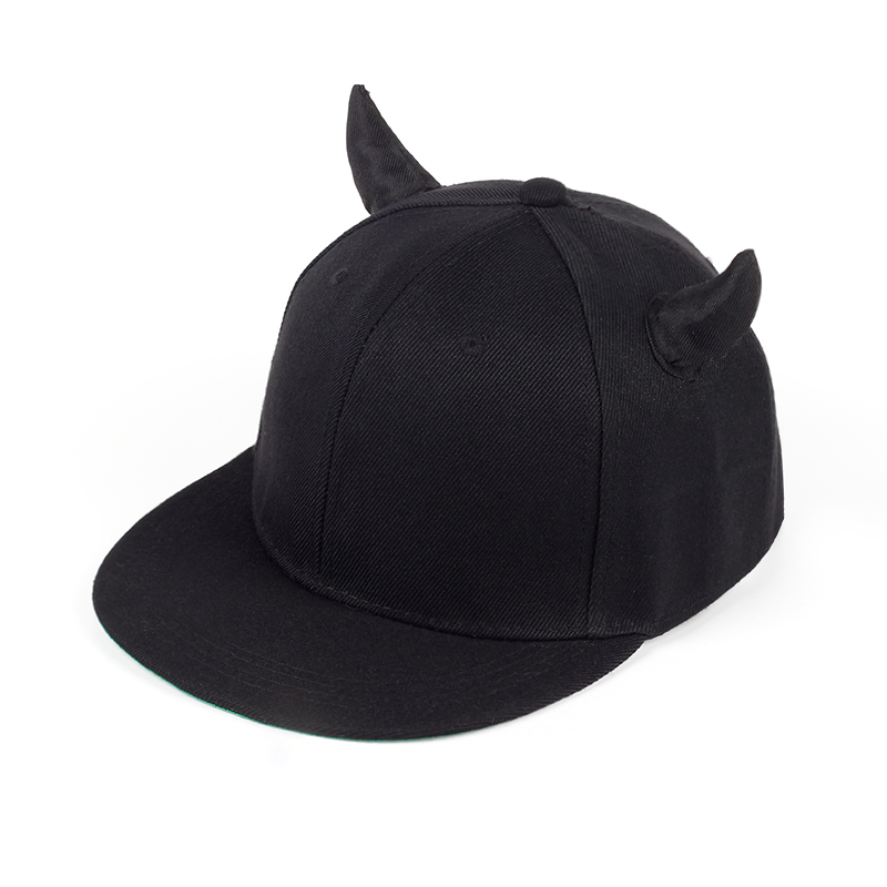 Black Cotton Adjustable Baseball Cap With Horns High Quality Snapback Hat For Women Men Fashion Sun Hat Outdoor Travel Cap