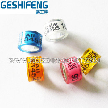 10mm racing pigeon rings 100pcs free shipping,with flag