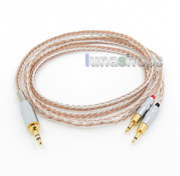 LN005791 6.5mm 3.5mm 16 Cores OCC Silver Plated Mixed Headphone Cable For Sennheiser HD700