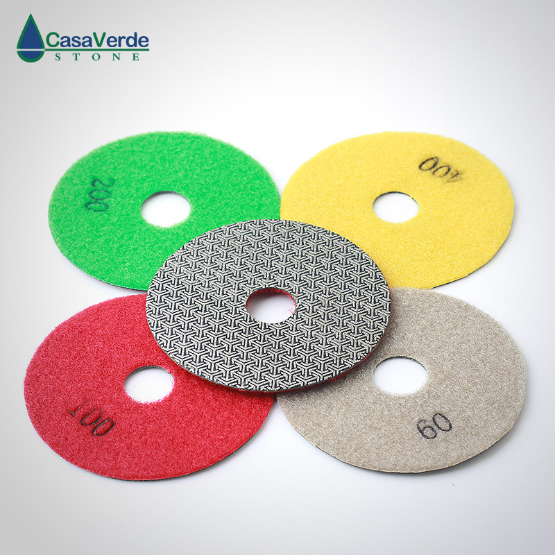 Free shipping 4 inch electroplated polishing pads dry and wet for grinding granite abrasive pads