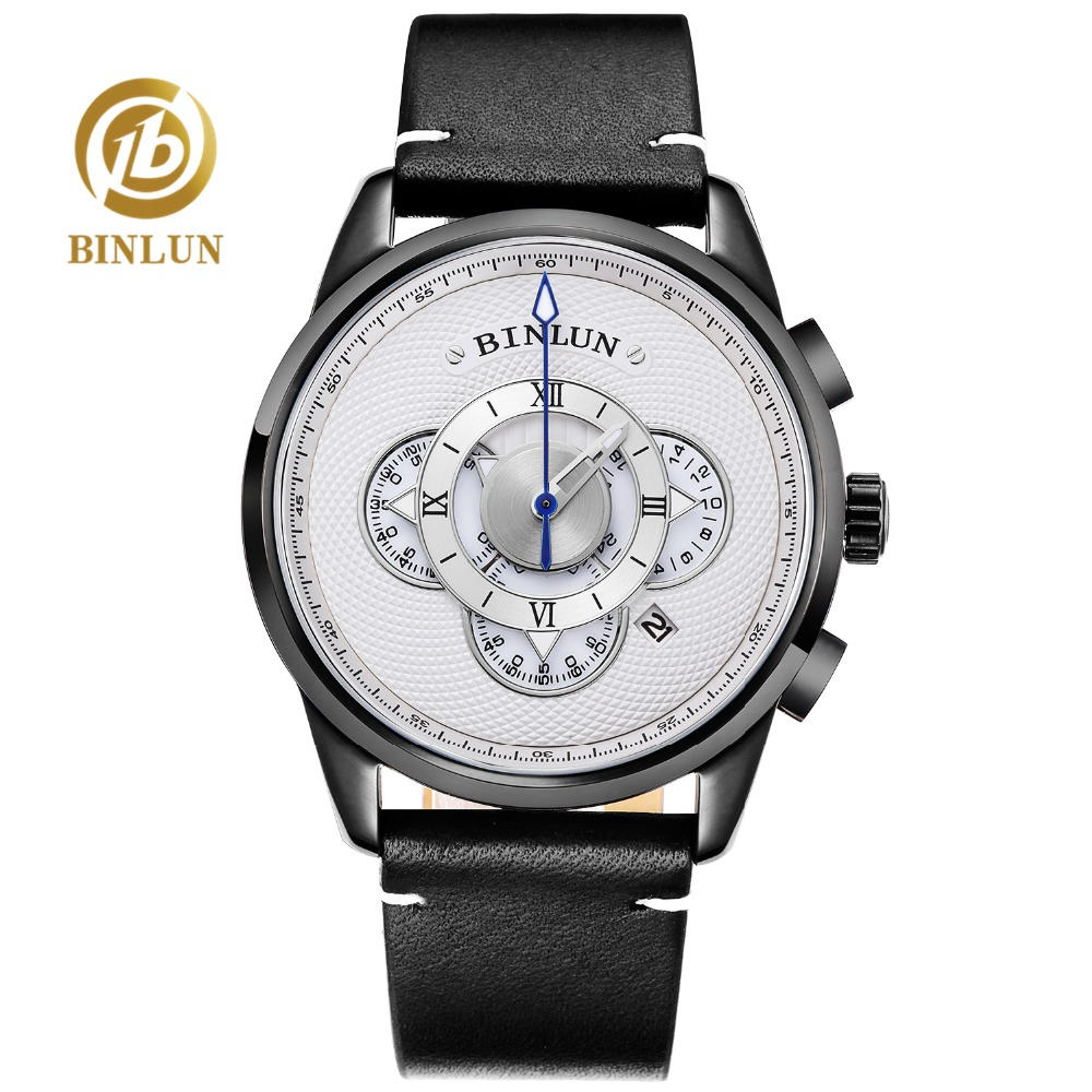 BINLUN Men's Sports Watch Luxury Durable Quartz Watch 4 Dial Watches Male Genuine Leather Waterproof Quartz Watches For Men genuine jedir quartz male watches genuine leather watches racing men students game run chronograph watch male glow hands