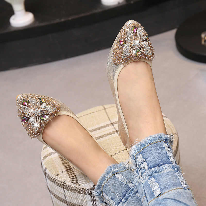 52bfb50e5f4001 ... MVVJKE Women Crystal Ballet Flats Size 34-43 2017 Spring Solid Gold  Bling Cloth Pointed ...