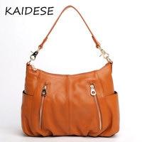 KAIDESE Europe and America fashion leather handbag, women's head layer cowhide, leisure shoulder bag, large capacity handbag