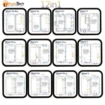 12PC profesjonalny przewodnik Pad dla iPhone XsMax XR XS X 8P 8 7 7P 6 6s 6p 6sp magnetyczny śruba Keeper wykres Mat narzędzia do naprawy telefonów tanie i dobre opinie High carbon steel y-345 16cm*18cm Electrical Phone Repair Screw map
