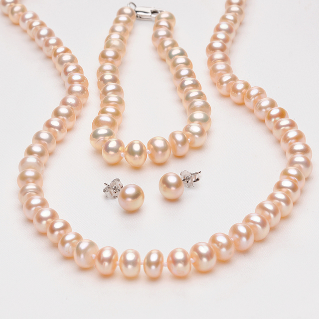 FEIGE 7-8mm Pink Natural Freshwater Pearl Jewelry Set For Women's 925 Sterling Silver Earrings and Pearl Necklace Fine Jewelry