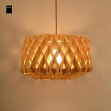 Wood Honeycomb Diamond Shade Pendant Light Fixture Nordic Japanese Style Creative Suspension Lamp Design Dining Room Restaurant