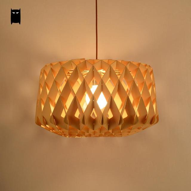 Wood Honeycomb Diamond Shade Pendant Light Fixture Nordic Anese Style Creative Suspension Lamp Design Dining Room