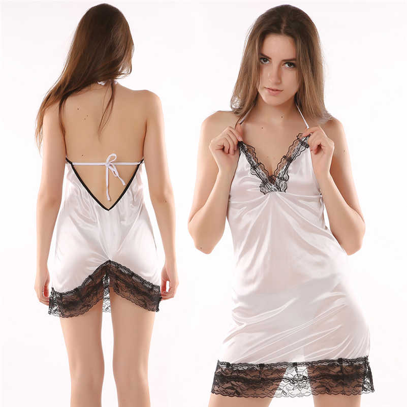 45e7ca89e51b 2018 Sexy Women Lingerie Lady Underwear Lace Night Dress White Babydoll  Sleepwear with G-string