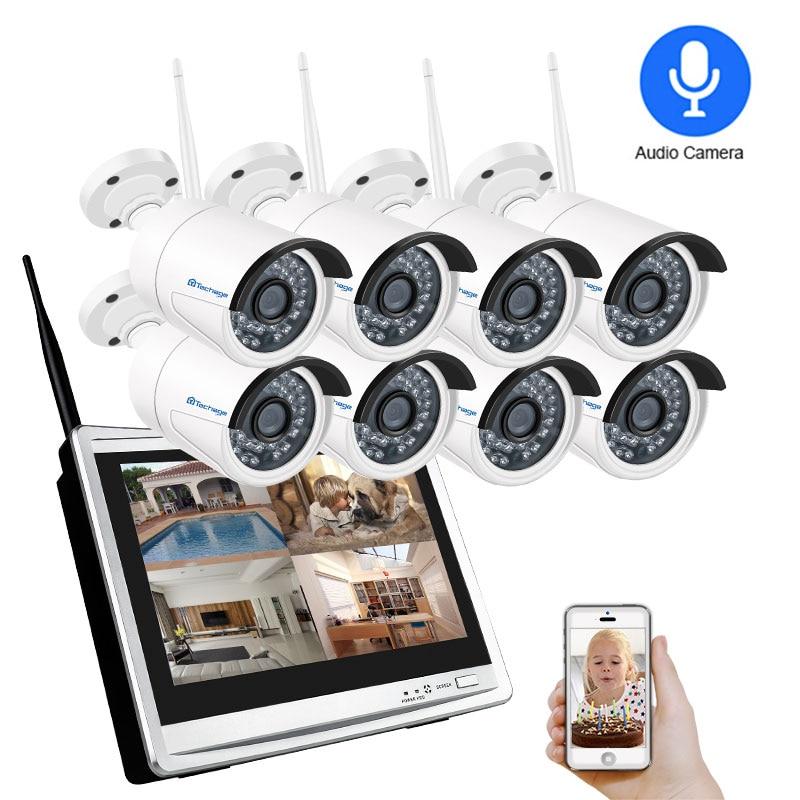 Techage 8CH 1080P 2MP 12 LCD Monitor Wireless NVR Kit Wifi Audio IP Camera System Video