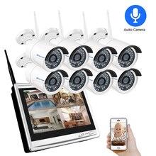 "Techage 8CH 1080P 2MP 12 ""lcd monitör Kablosuz NVR Wifi Ses IP Kamera Sistemi Video Gözetim Su Geçirmez CCTV Güvenlik kiti"