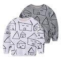 Hot sale 2016 unisex bebê crianças casa impressa algodão T camisa crianças moda primavera top camisola de algodão pano de terry
