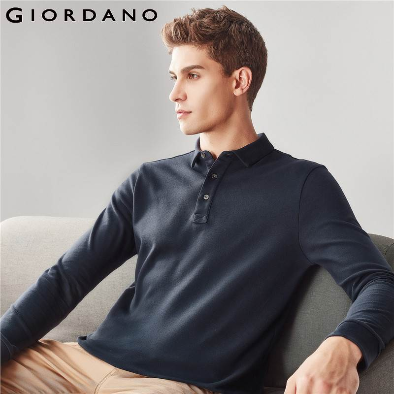 Giordano Men   Polo   Shirt Men Solid Slim Long Sleeve   Polo   Shirt Men Pique Cotton Turn-down Collar   Polo   Homme Camisa   Polo