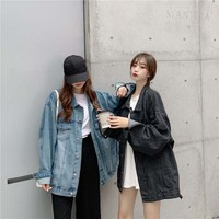 Women Spring And Autumn Fashion Brand Korea Style Vintage Denim Oversize Jacket Female Casual Loose Blue Black Jacket Coat Cloth
