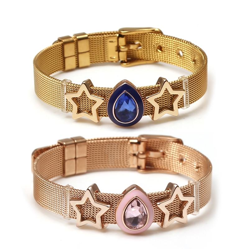 DINGLLY Two-tone Stainless Steel Mesh Bracelets For Women Men Golden Love Heart Beaded 10mm Ribbon Mesh Bracelet & Bangle Gifts
