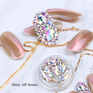 Image 5 - 1 Box Mixed 3D Rhinestones Nail Art Decorations Crystal Gems Sieraden Gold AB Shiny Stones Charm Glas Manicure Accessoires TR768
