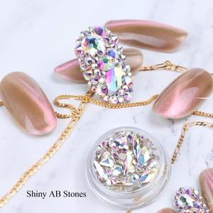 Image 5 - 1 kutu karışık 3D Rhinestones Nail Art süslemeleri kristal taşlar takı altın AB parlak taşlar Charm cam manikür aksesuarları TR768