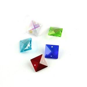 Image 5 - Couleurs 22mm perles carrées en cristal dans 2 trous pour accessoires de décoration de la maison, perles de rideau en cristal, perle de lustre en cristal