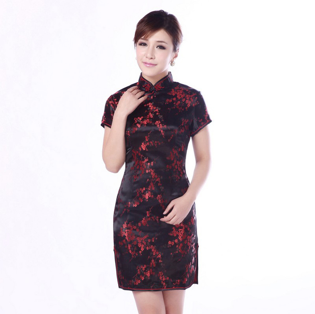 a71cce35f9ee2 Tang Show traditional Chinese Women s silk Satin Short Qipao Cheong-sam  Evening Dress Plus size 4XL 5XL 6XL