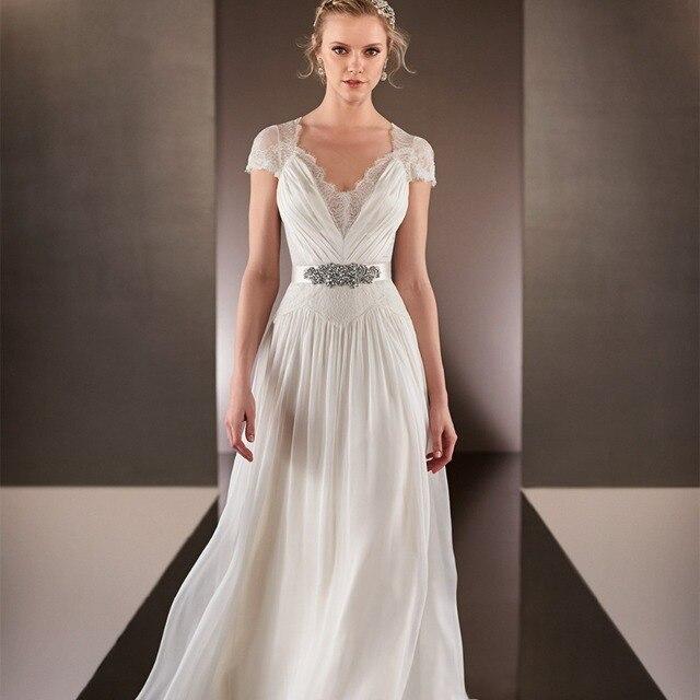 Miss Wedding Bohemia Style Chiffon Bridal Gown Lace Cap Sleeve