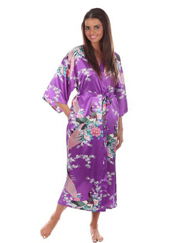 Long Robe Satin Rayon Bathrobe Nightgown For Women Kimono Sleepwear Flower Plus Size S-XXXL