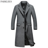Extra Long Gray Wool Trench Coat Men 2018 Brand New Winter Mens Slim Fit Cashmere Coat Single Breasted Male Overcoat Windbreaker