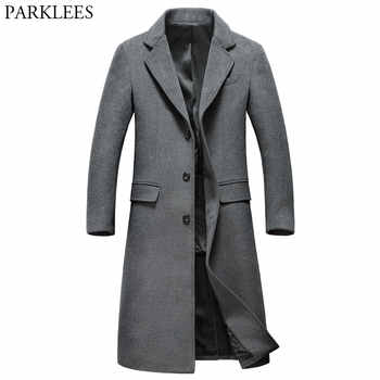 Extra Long Gray Wool Trench Coat Men 2018 Brand New Winter Mens Slim Fit Cashmere Coat Single Breasted Male Overcoat Windbreaker - DISCOUNT ITEM  22 OFF Men\'s Clothing