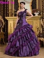 紫夜会服quinceaneraのドレス2017ワンショルダーヴィンテージティアードタフタオーガンザ女の子ウエディングパーティーガウンドレスカスタムメイ