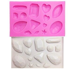 Image 1 - M0174 미니 보석 다이아몬드 모양의 퐁당 케이크 초콜릿 도구 캔디 실리콘 몰드 몰드