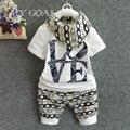 Conjuntos de Roupas de bebê menino de Algodão de Moda Bebê 3 pcs (Manga Curta + Calça + Cachecol) Baby boy roupas